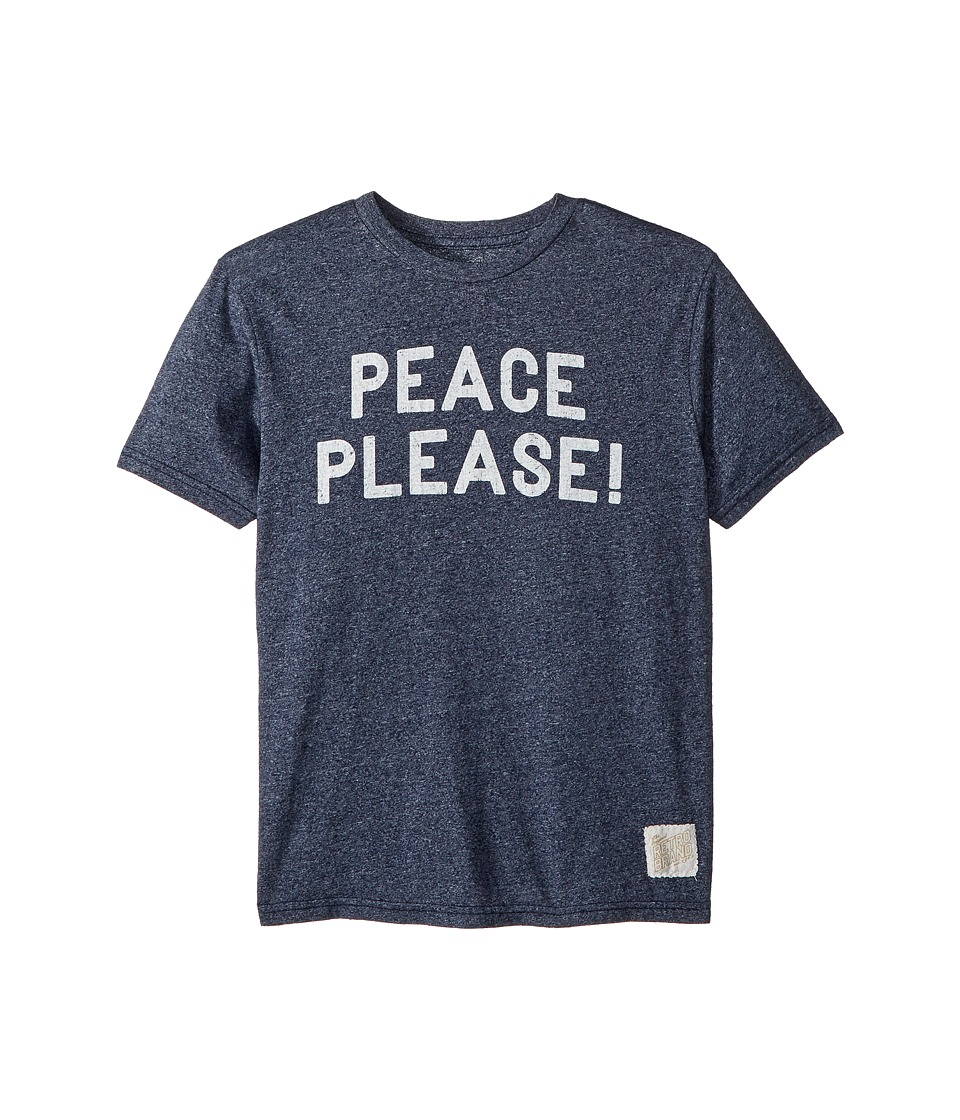 The Original Retro Brand Kids - Peace Please Short Sleeve Mocktwist Tee (Big Kids) (Mocktwist Navy) Boys T Shirt