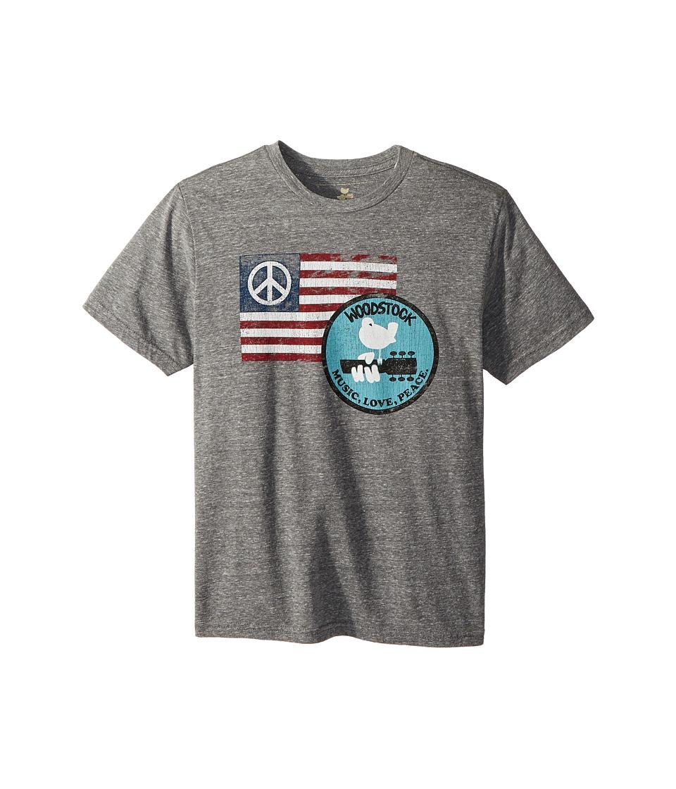 The Original Retro Brand Kids - Woodstock Peace Flag Short Sleeve Tri-Blend Tee (Big Kids) (Steraky Grey) Boys T Shirt