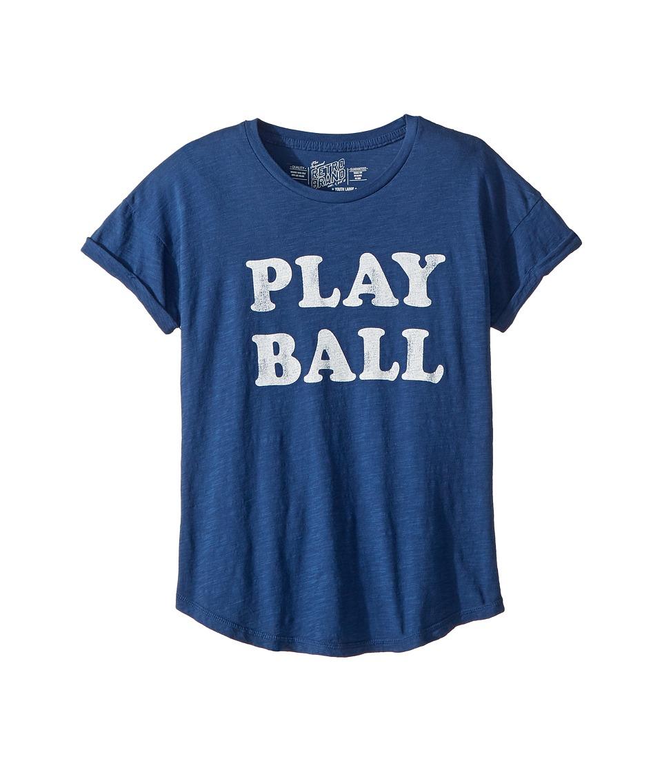 The Original Retro Brand Kids - Play Ball Short Sleeve Slub Crew Neck Tee (Big Kids) (Cobalt) Girls Clothing