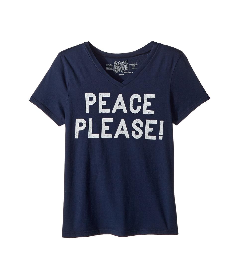 The Original Retro Brand Kids - Peace Please Short Sleeve Vintage Cotton V-Neck (Big Kids) (Navy) Girls Clothing