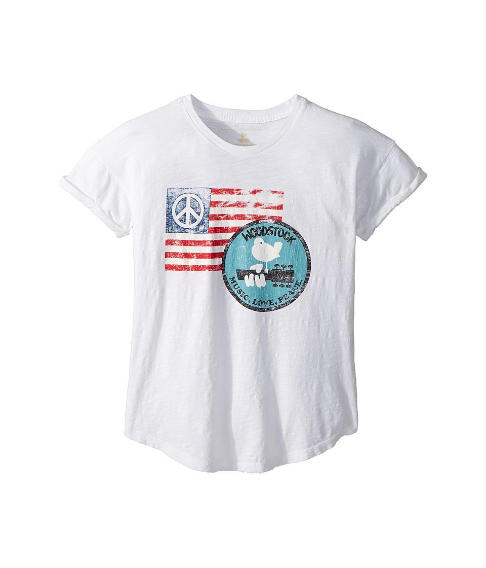 The Original Retro Brand Kids - Woodstock Peace Flag Rolled Short Sleeve Slub Tee (Big Kids) (White) Girls Clothing