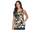 CeCe Soft Palms All Over Sleeveless Tie Blouse