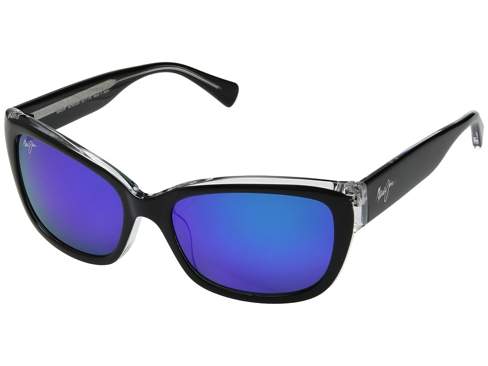 Maui Jim - Plumeria (Black/Crystal/Blue Hawaii) Athletic Performance Sport Sunglasses