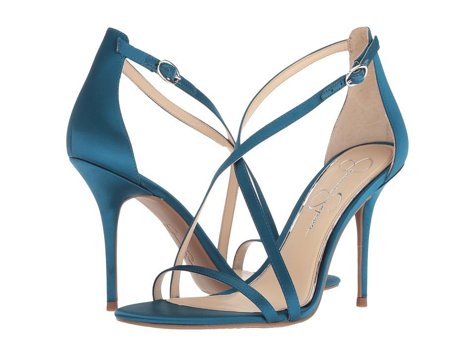 Jessica Simpson Aisha (Teal Lagoon Crytal Satin) Women's Shoes