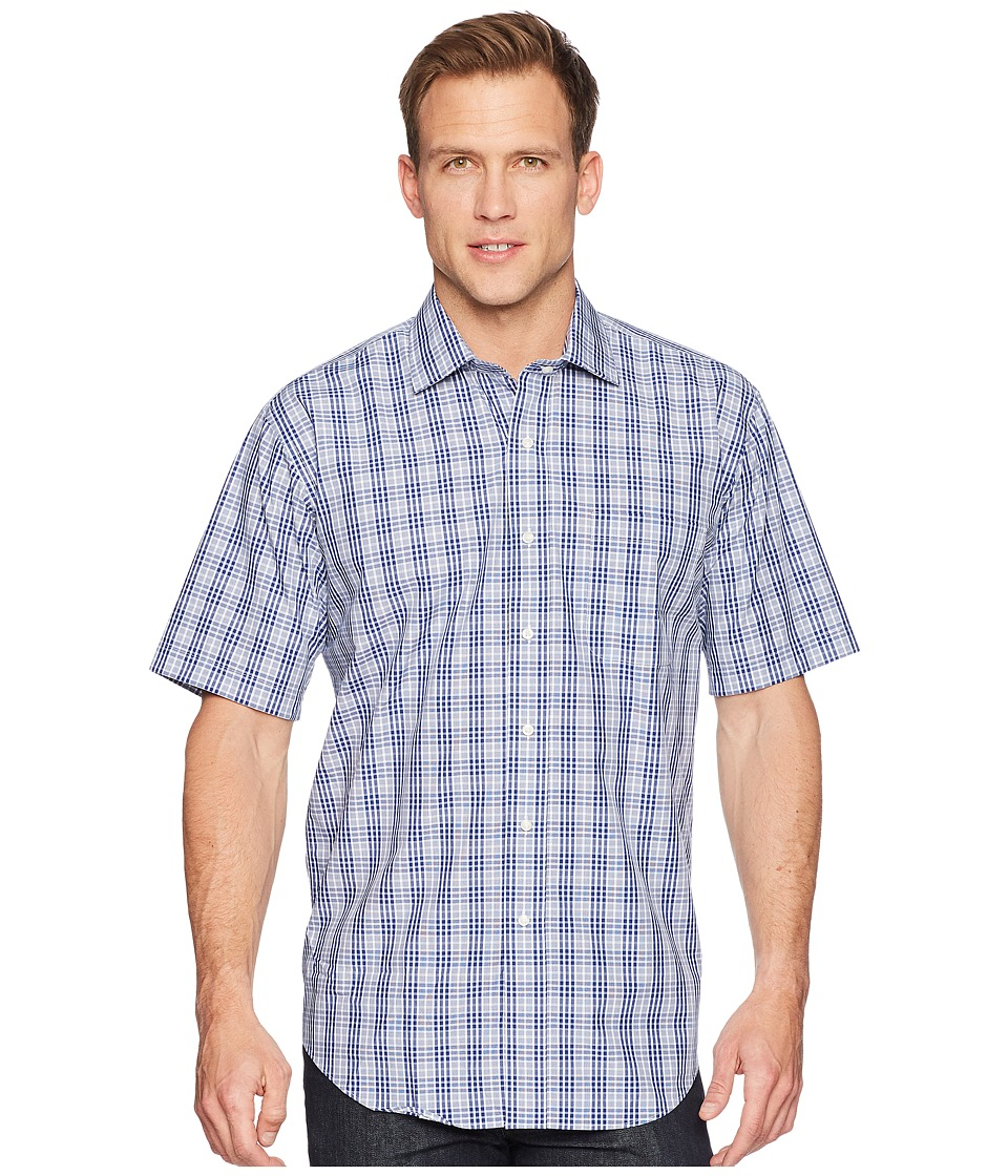 Magna Ready - Short Sleeve Magnetically-Infused Plaid Dress Shirt- Spread Collar (Navy/White) Mens Clothing