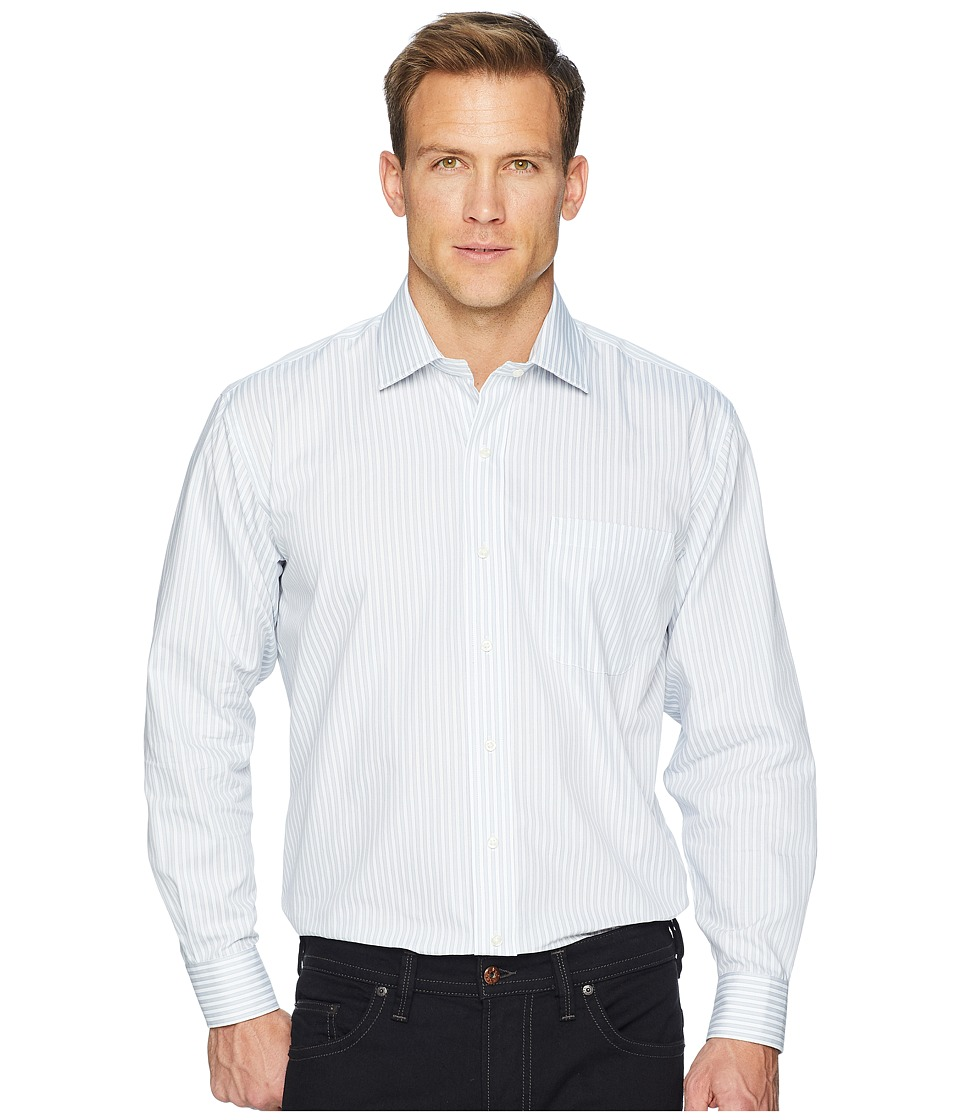Magna Ready - Long Sleeve Magnetically-Infused Stripe Dress Shirt - Spread Collar (Grey/White) Mens Clothing