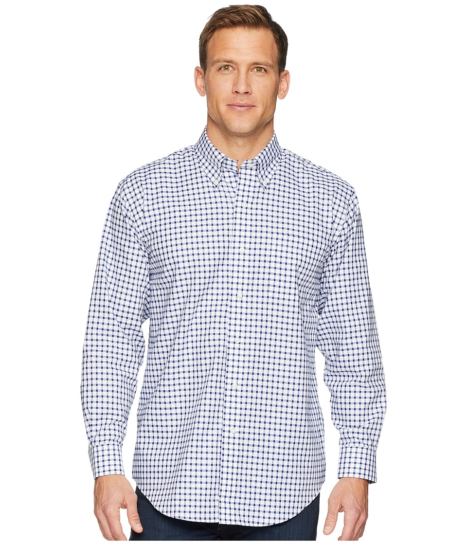 Magna Ready - Long Sleeve Magnetically-Infused Check Dress Shirt- Button Down Collar (Navy/White) Mens Clothing