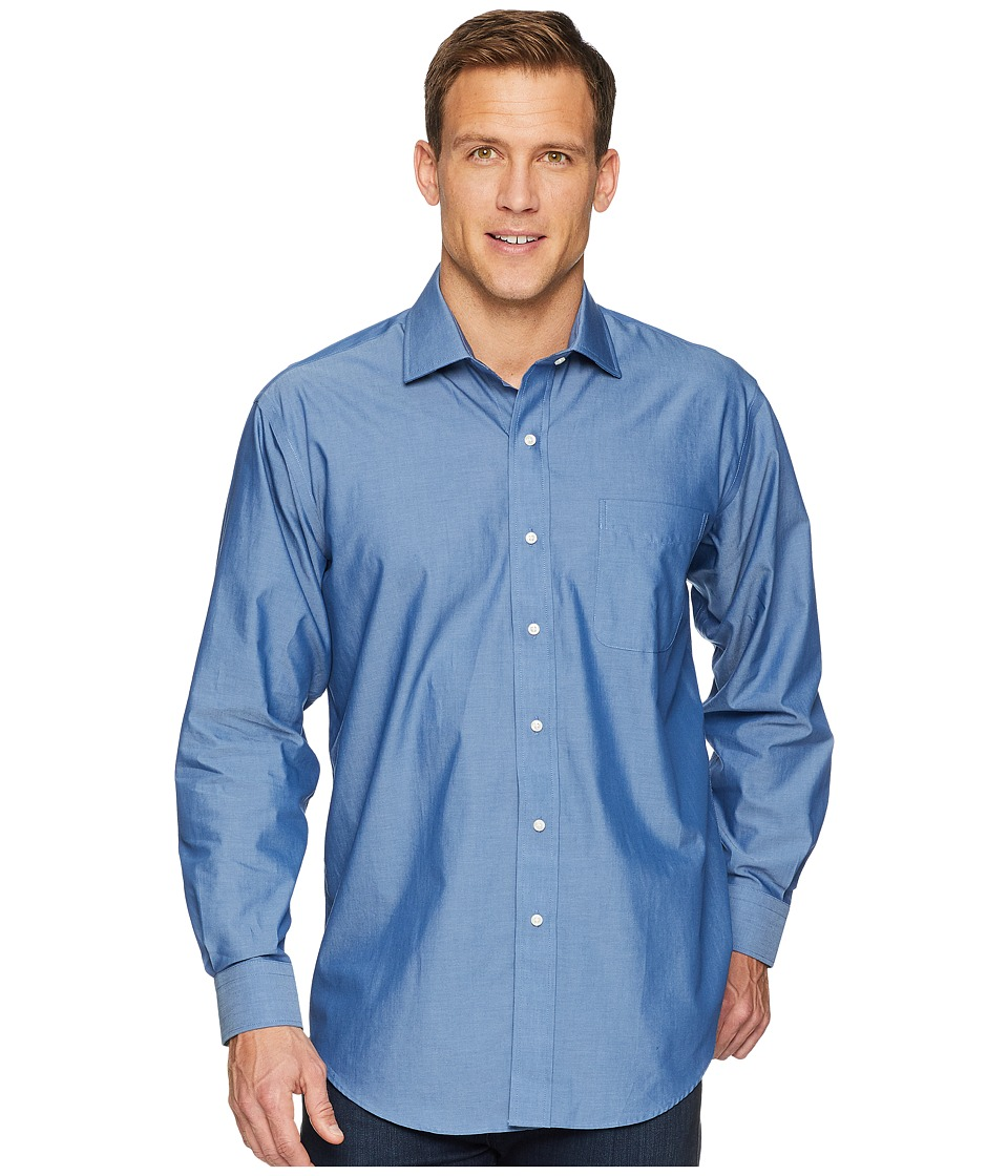 Magna Ready - Long Sleeve Magnetically-Infused Solid Dress Shirt - Spread Collar (Medium Blue) Mens Clothing