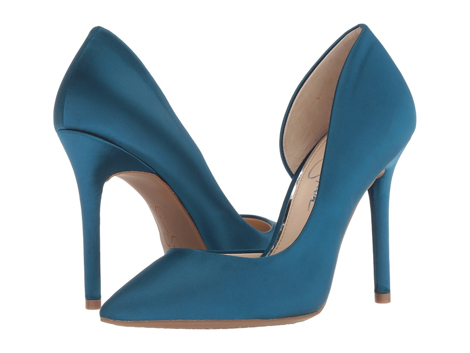 Jessica Simpson Lucina (Teal Lagoon Crytal Satin) Women's Shoes