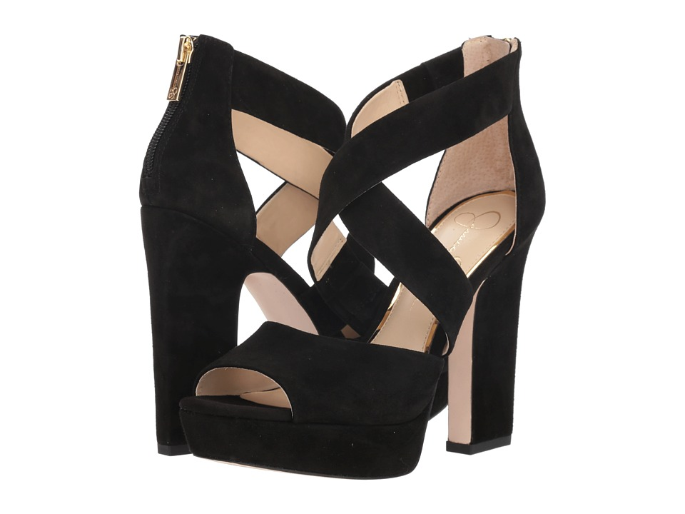 Jessica Simpson Tehya (Black Luxe Kid Suede) Women's Shoes