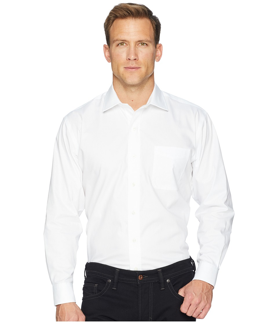 Magna Ready - Long Sleeve Magnetically-Infused Solid Pinpoint Dress Shirt- Spread Collar (White) Mens Clothing