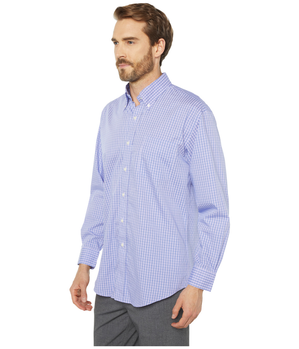 Magna Ready - Long Sleeve Magnetically-Infused Check Dress Shirt - Spread Collar (Purple/Navy) Mens Clothing