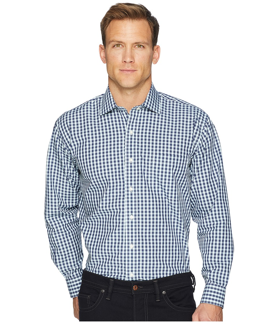Magna Ready - Long Sleeve Magnetically-Infused Dress Shirt- Spread Collar (Dark Navy/Green/White) Mens Clothing