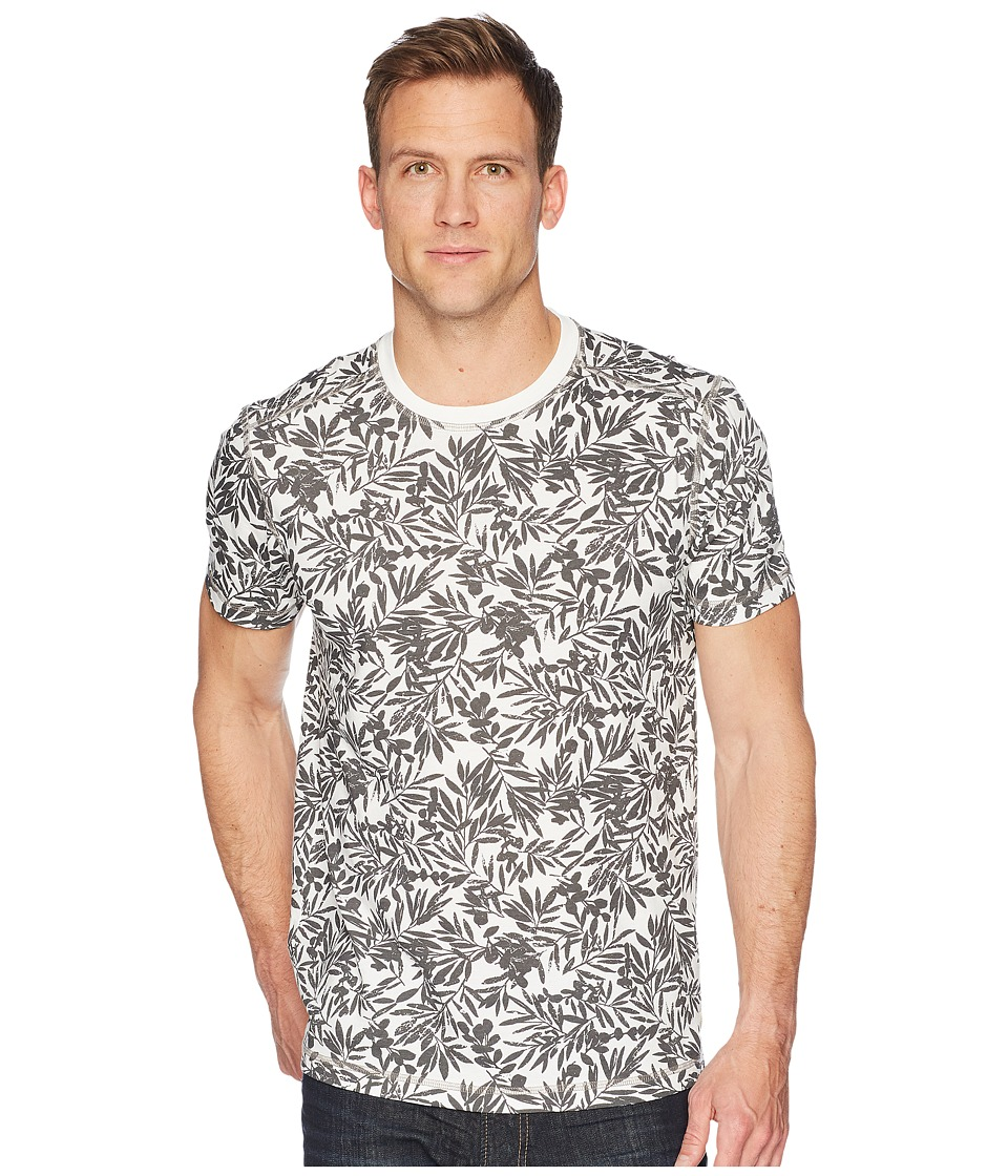 Agave Denim - Frisco Woods Short Sleeve Crew Neck Flora Camo Print (Gray) Mens Short Sleeve Pullover