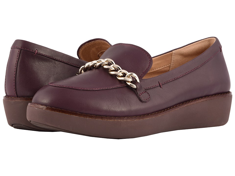 FitFlop Paige Chain Moccasin (Deep Plum) Women's Shoes