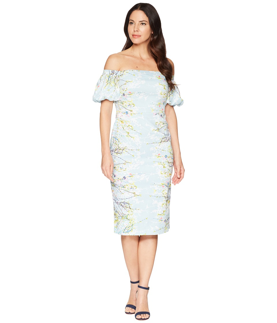 Maggy London - Blossom Branch Cotton Sheath Dress (Baby Aqua/Multi) Womens Dress