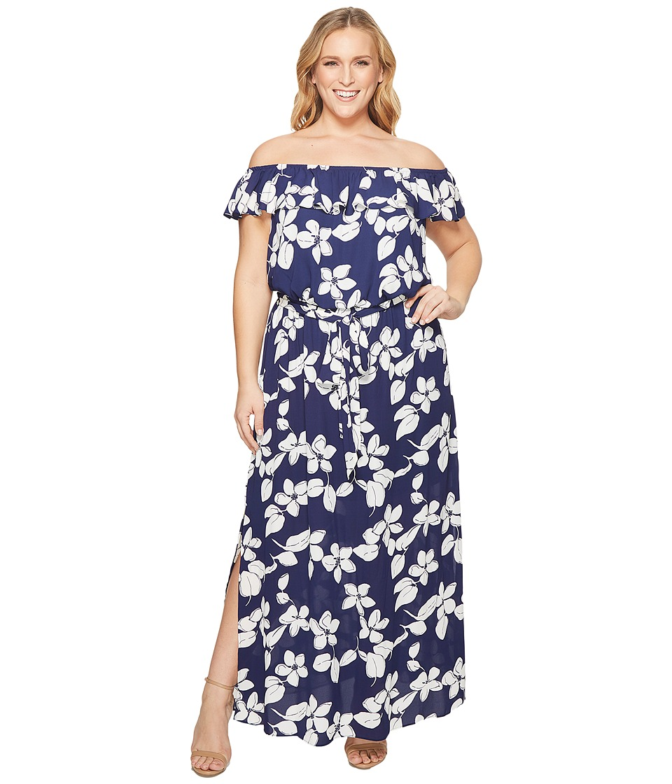 Adrianna Papell Plus Size Simple Delight Ruffle Maxi (Blu...
