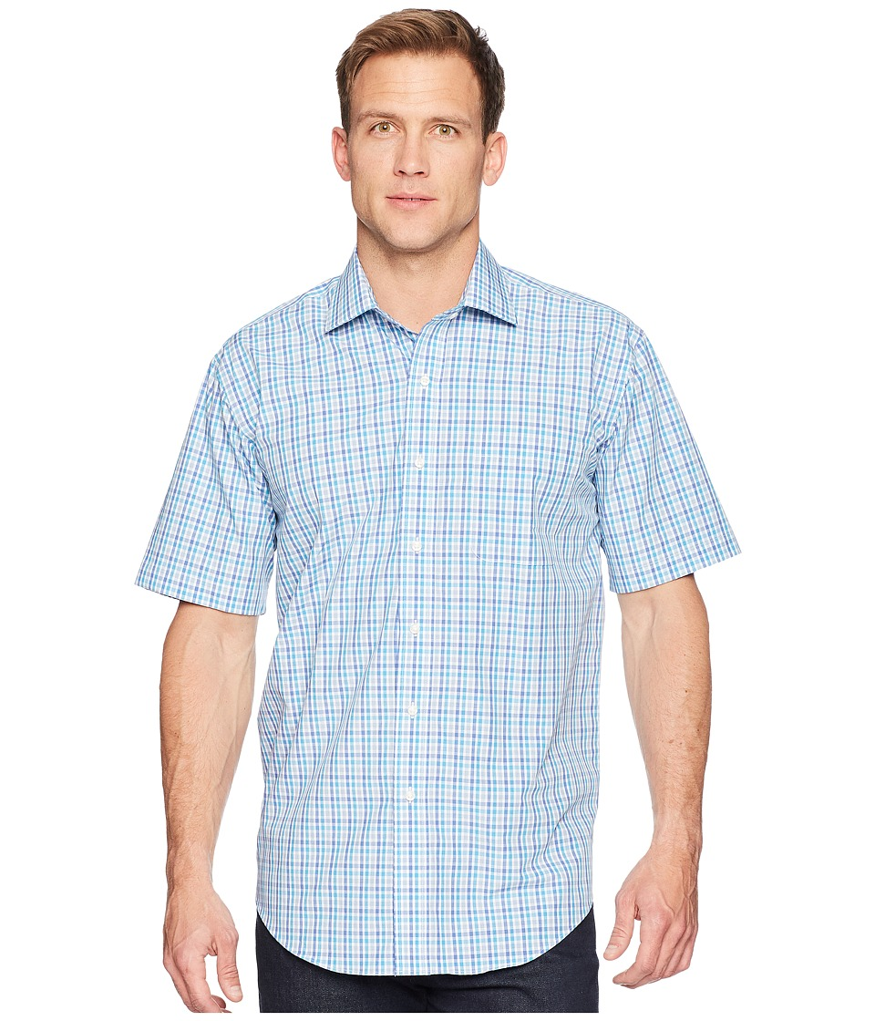 Magna Ready - Short Sleeve Magnetically-Infused Check Dress Shirt- Spread Collar (Blue/Teal/White) Mens Clothing