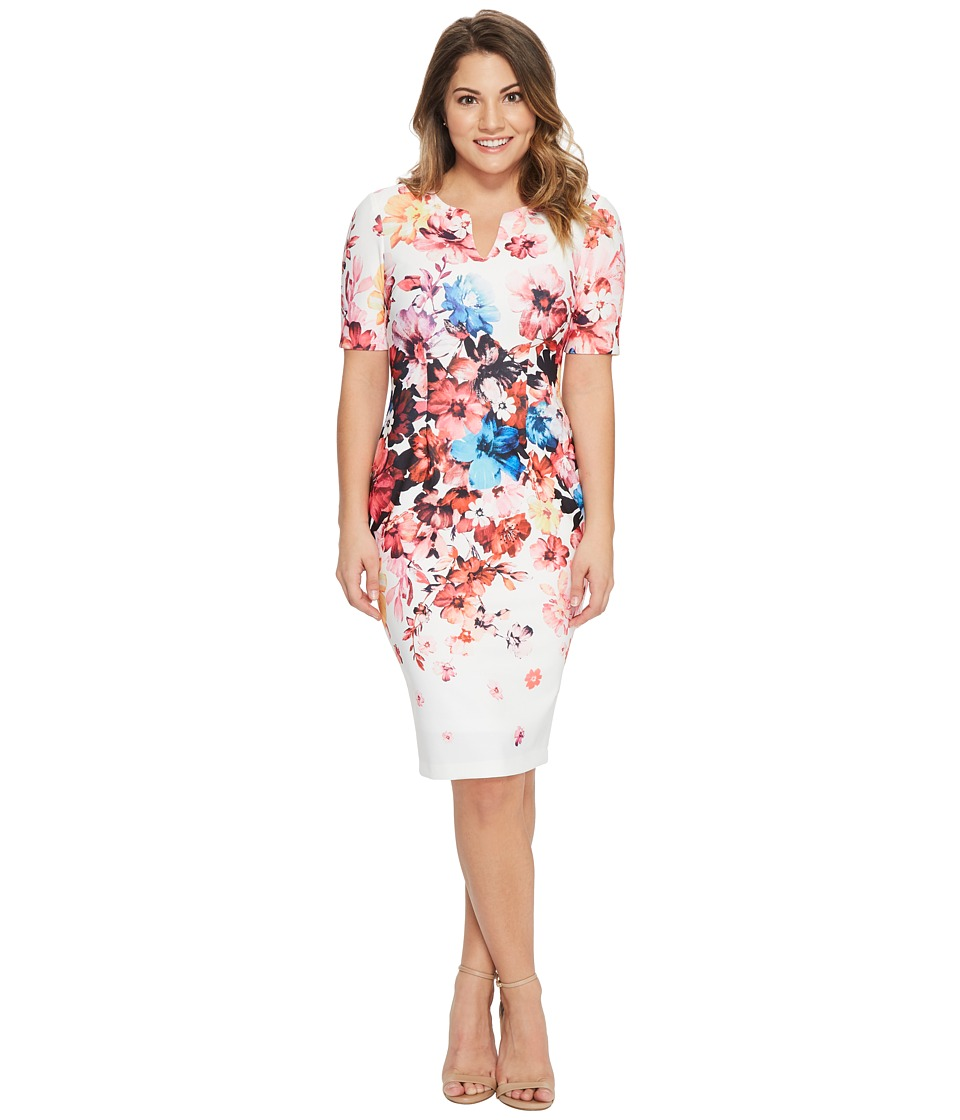 Adrianna Papell Petite Spring in Bloom Printed Sheath (Ivory Multi) Women's  Dress