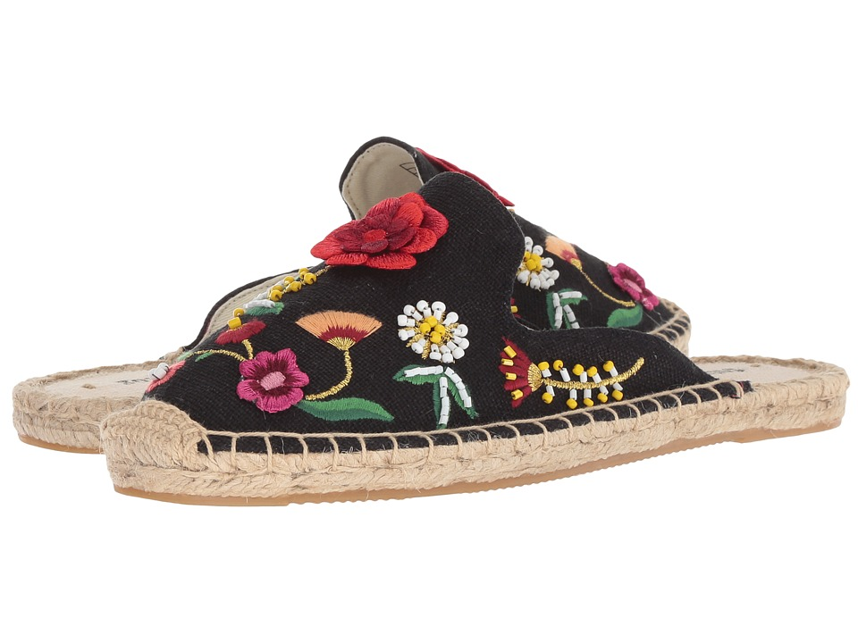 Soludos Embellished Floral Mule (Black) Women's Clog/Mule Shoes