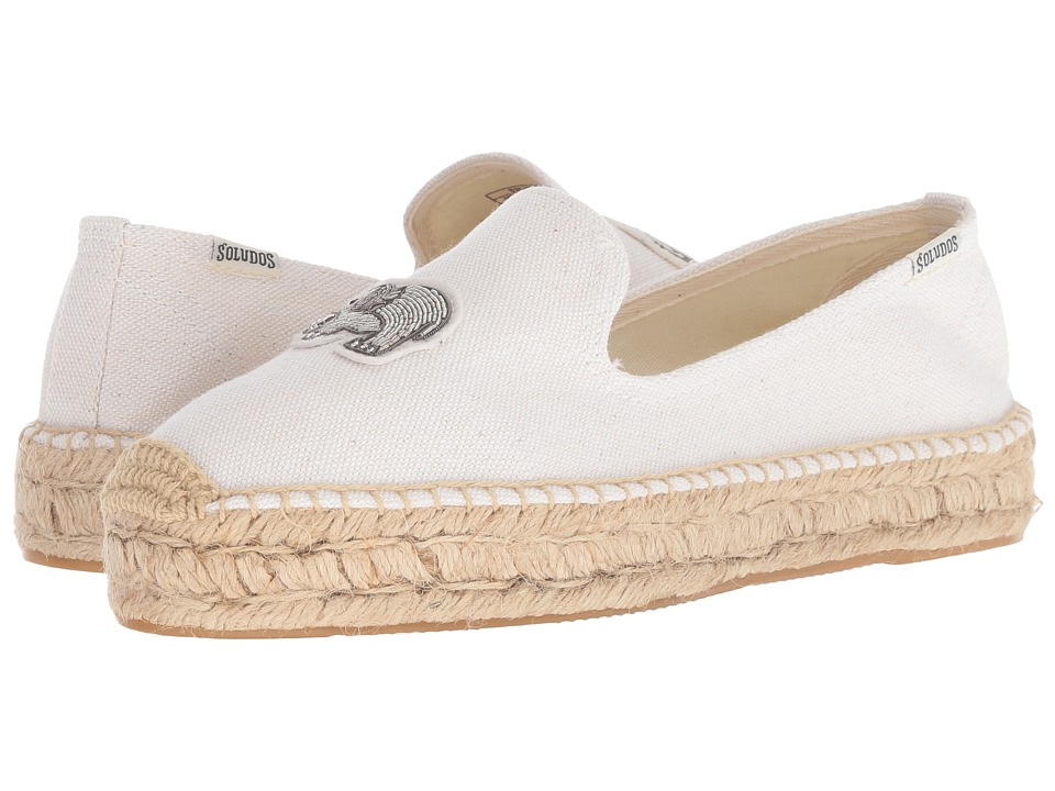Soludos Elephant Beaded Smoking Slipper (White) Slippers