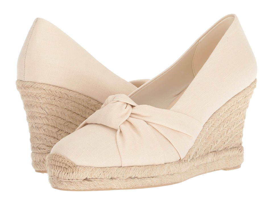1940s Style Shoes, 40s Shoes Soludos Knotted Pump Wedge Blush Womens Shoes $94.95 AT vintagedancer.com