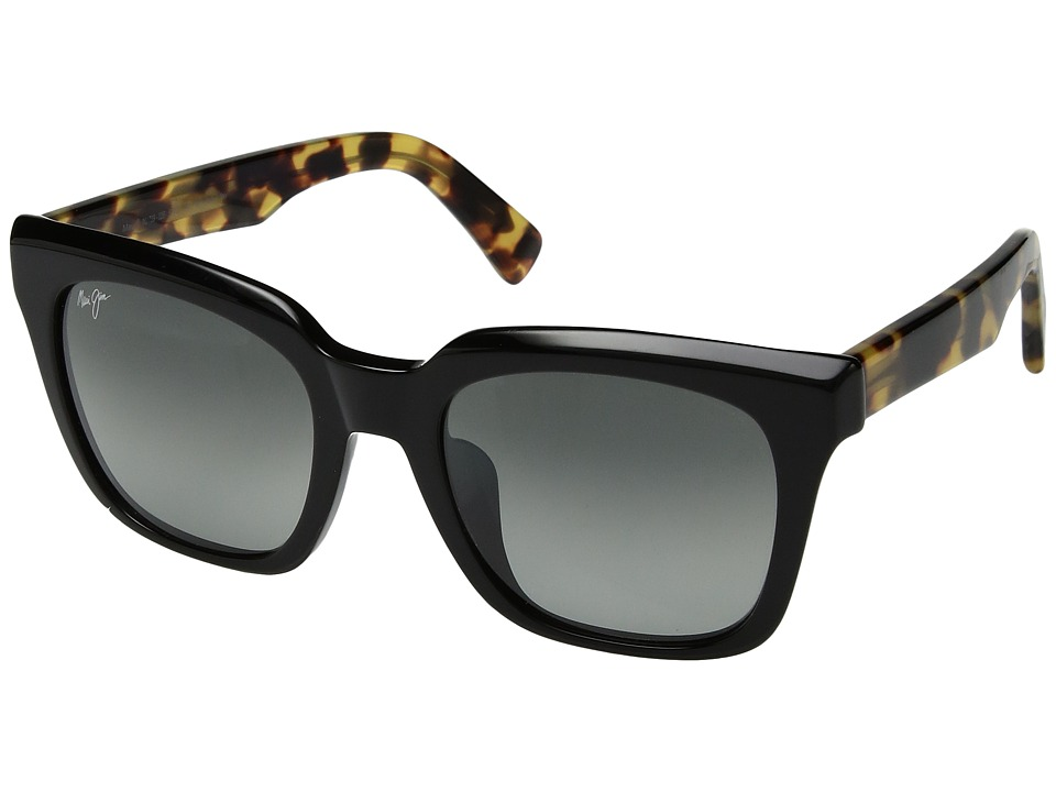 Maui Jim - Heliconia (Gloss Black/Tokyo Tortoise Temples/Neutral Grey) Athletic Performance Sport Sunglasses