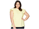 LAUREN Ralph Lauren LAUREN Ralph Lauren Plus Size Striped Cotton Flutter Sleeve T-Shirt