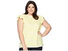 LAUREN Ralph Lauren Plus Size Striped Cotton Flutter Sleeve T-Shirt