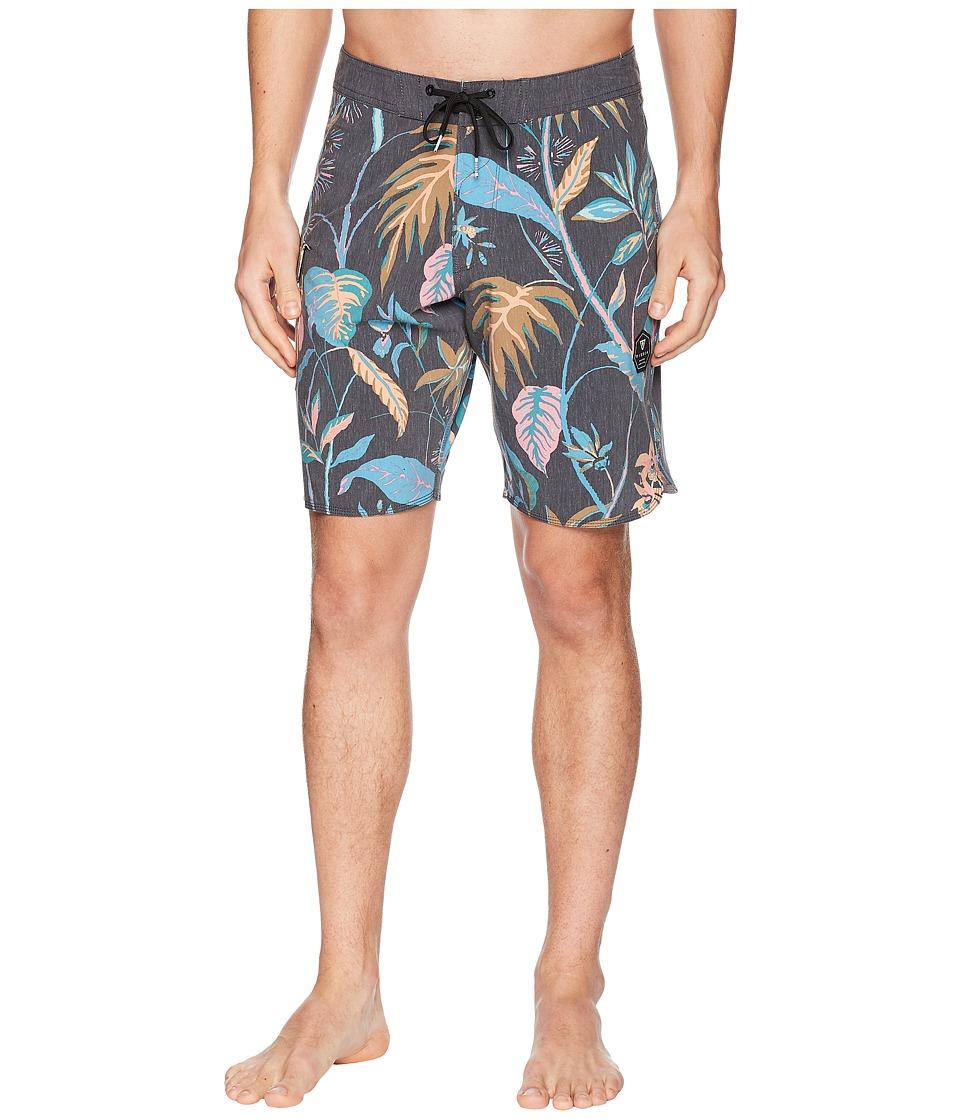VISSLA - Neotanical Four-Way Stretch Boardshorts (Black) Mens Swimwear