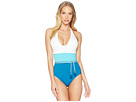 Vince Camuto Sun Block Color Blocked One-Piece w/ Braided Belt and Removable Soft Cups