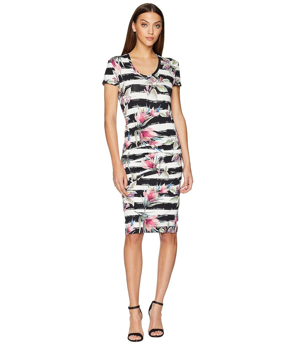 Nicole Miller - Cap Sleeve Dress (Black/White) Womens Dress