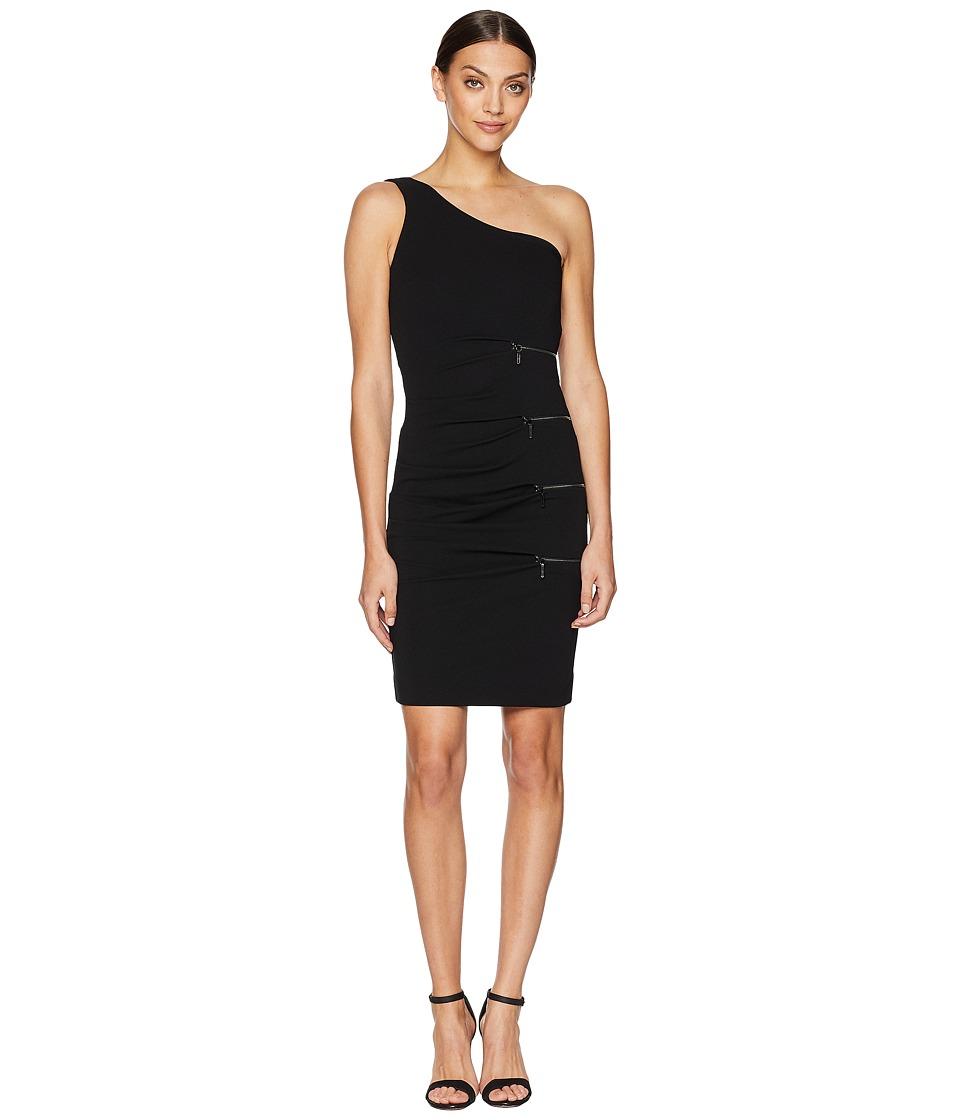 Nicole Miller - One Shoulder Dress with Zip (Black) Womens Dress