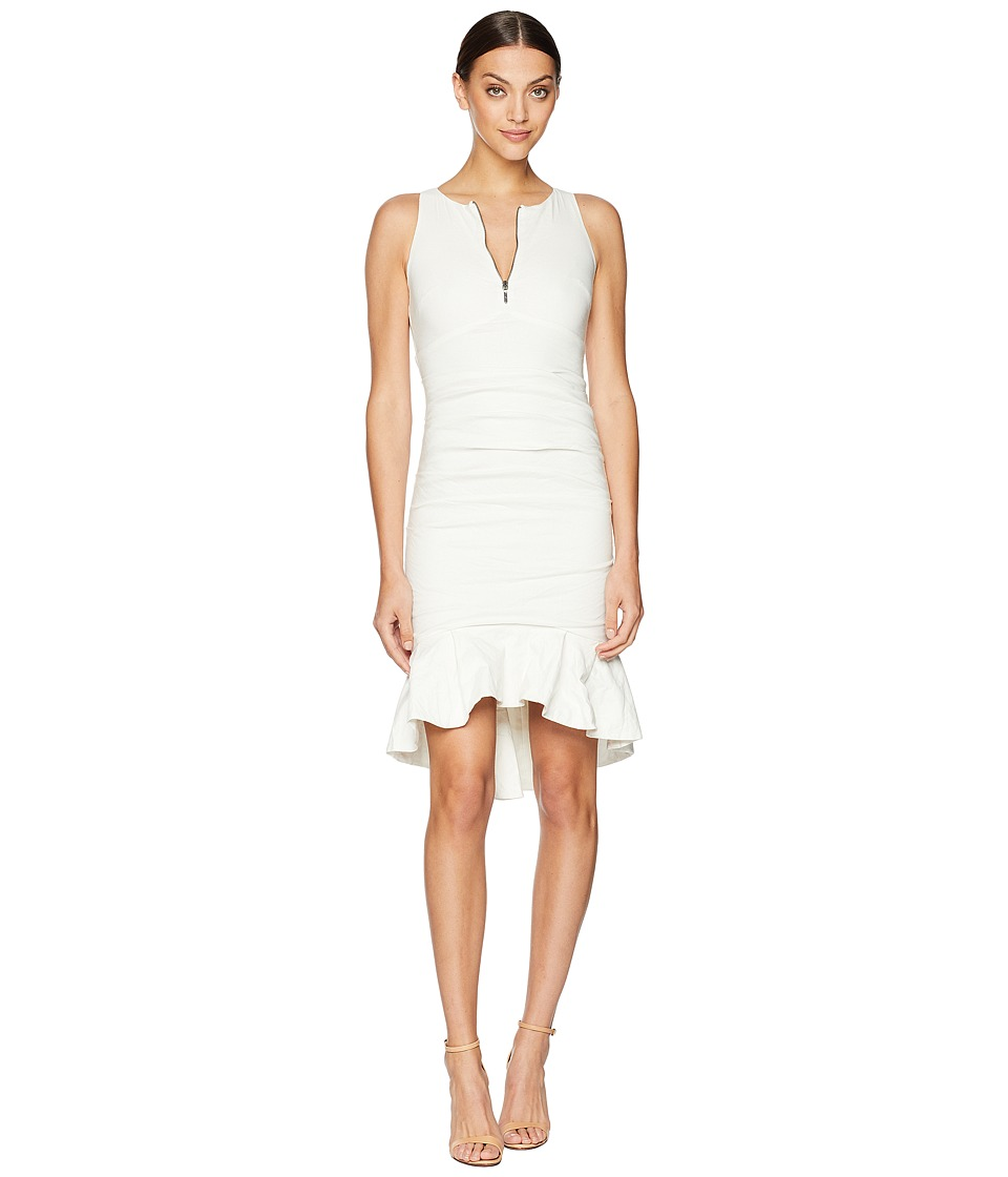 Nicole Miller - High Neck w/ Zip and Ruffle Hem Dress (White) Womens Dress