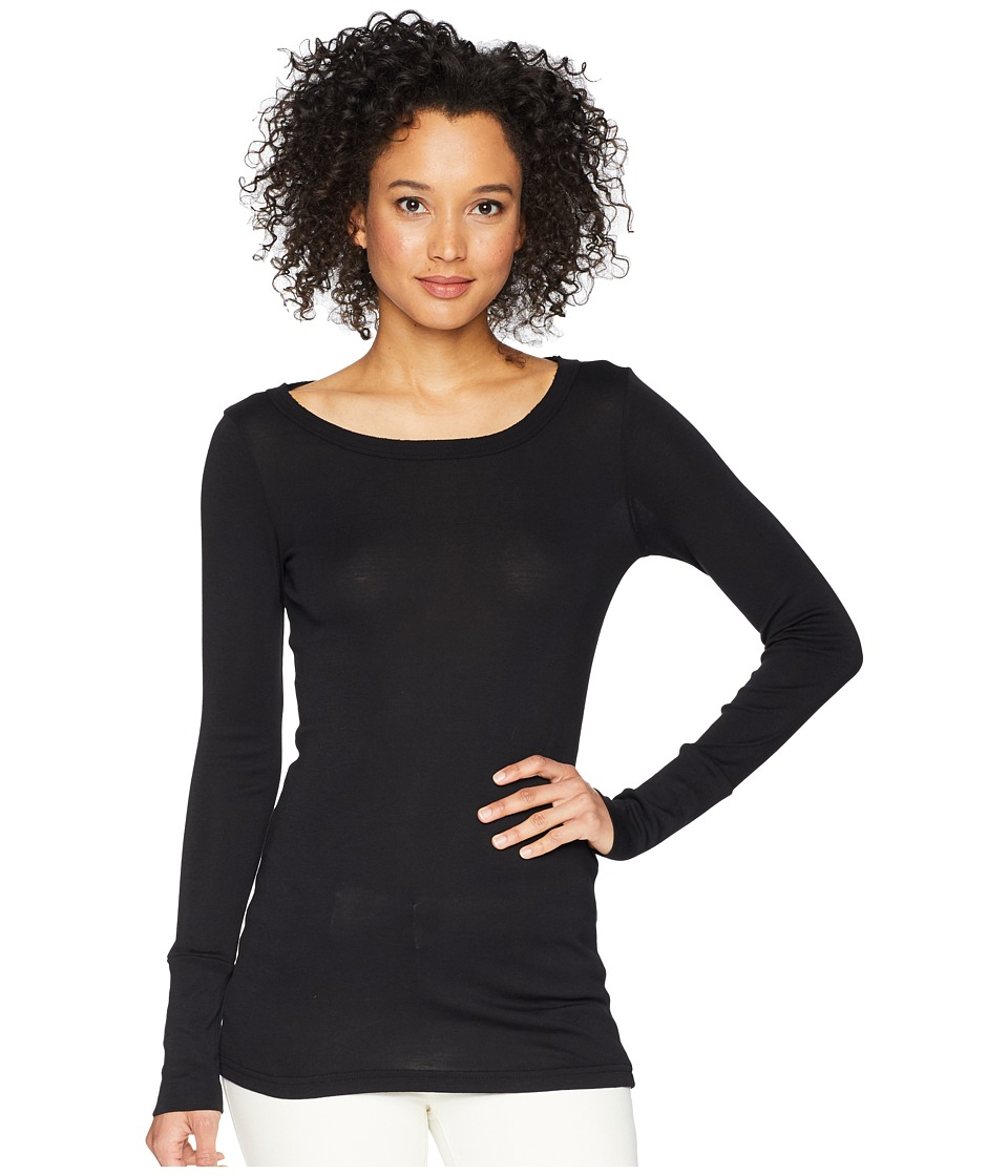 Michael Stars - Supima(r) Long Sleeve Raw Edge Band Crew (Black) Womens Clothing