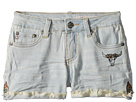 AG Adriano Goldschmied Kids Tacked Fray Hem Palm Shorts in Sunwashed (Big Kids)
