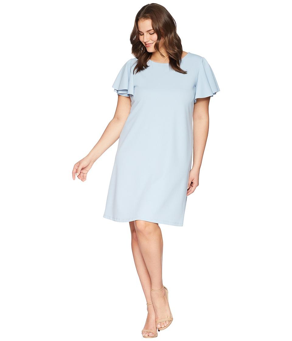 KARI LYN - Plus Size Mina Ruffle Sleeve Dress (Blue) Womens Dress