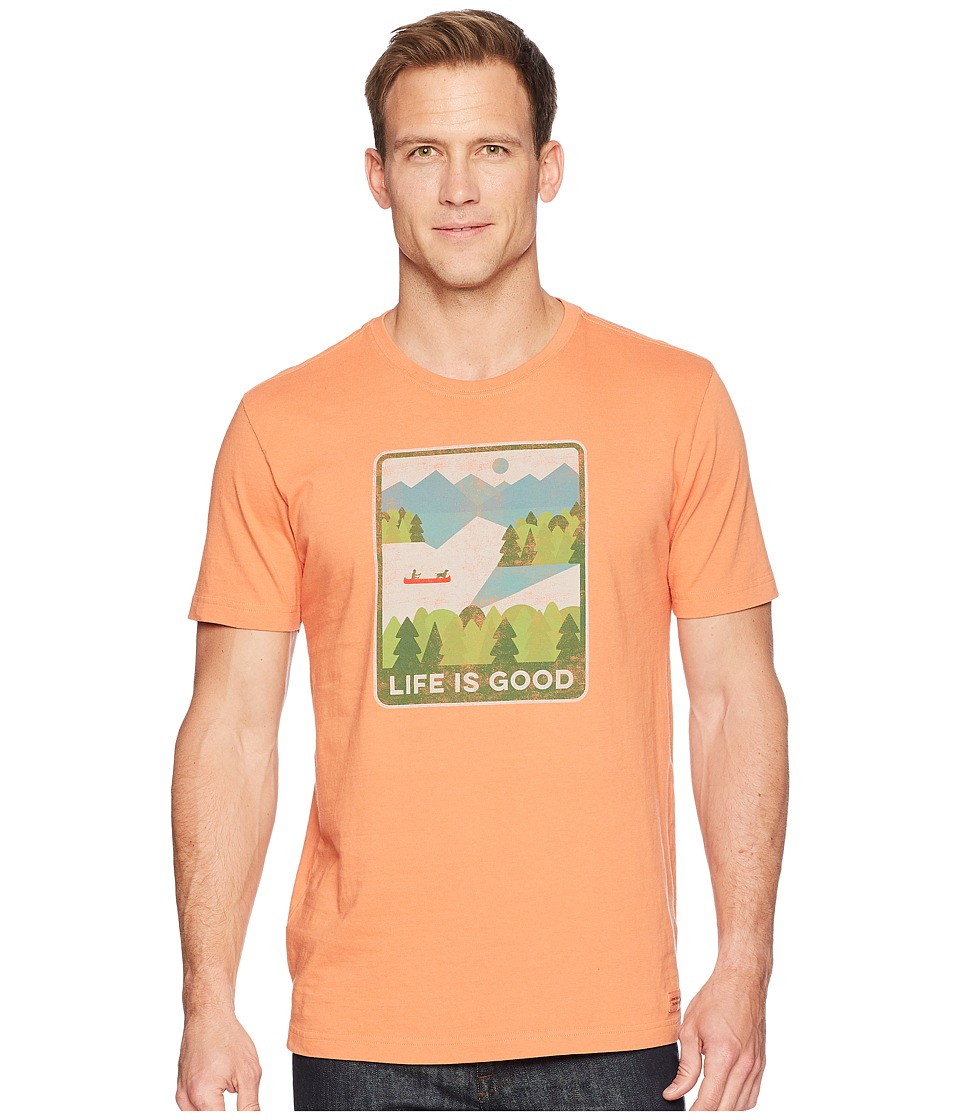Life is Good - Minimalist Lake Crusher Tee (Sandy Orange) Mens T Shirt
