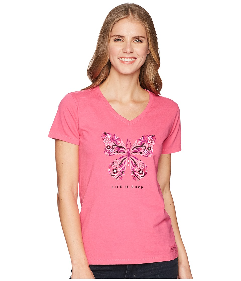 Life is Good - Wildflower Butterfly Crusher Vee (Fiesta Pink) Womens T Shirt