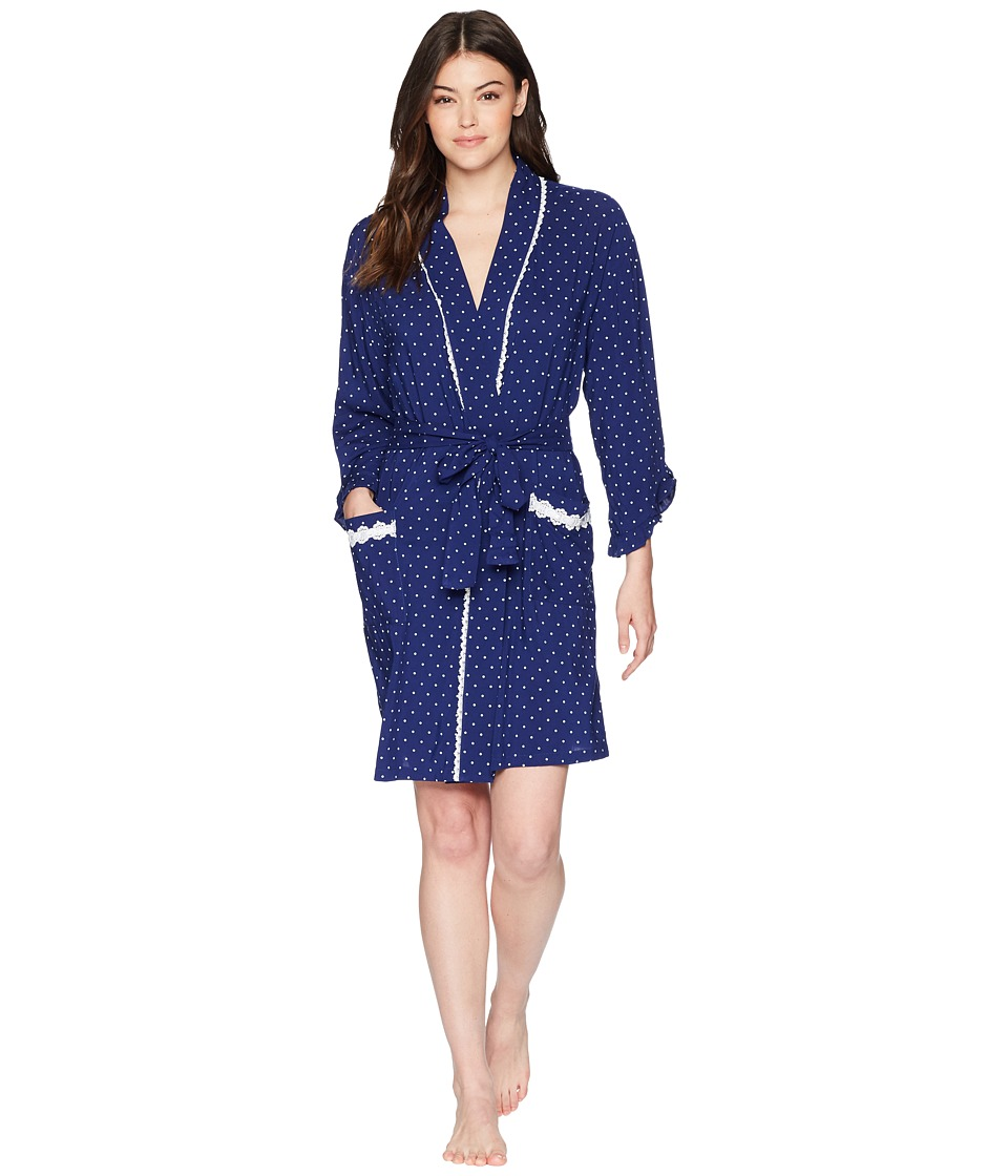 Eileen West - Short Wrap Robe Long Sleeve (Blue Dot) Womens Robe