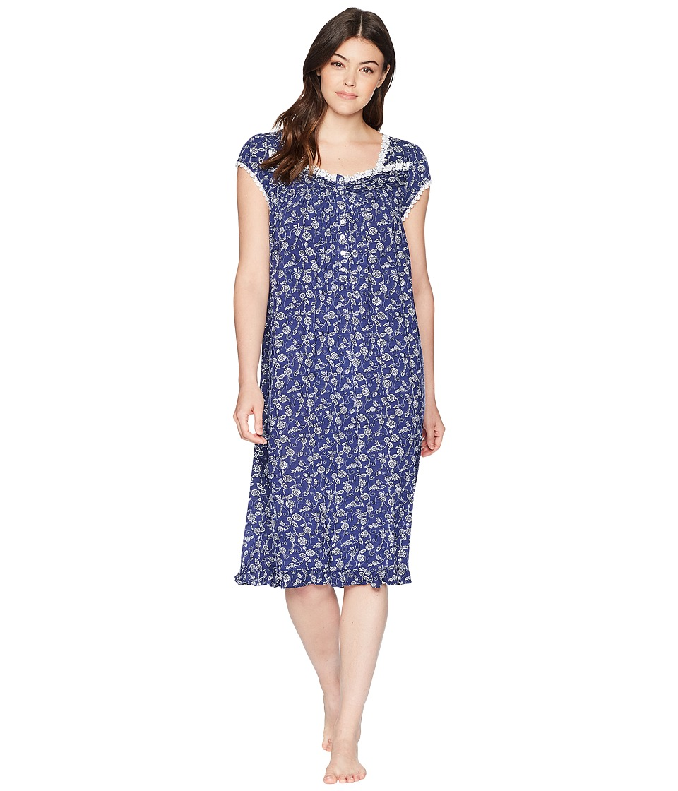 Eileen West - Waltz Nightgown Cap Sleeve (Indigo/Print) Womens Pajama