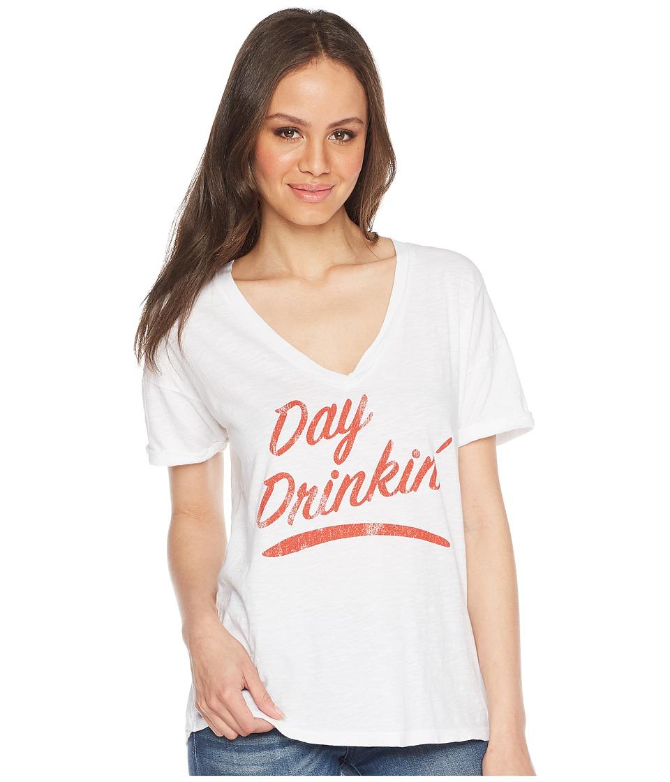 The Original Retro Brand - Day Drinkin Slub V-Neck Tee (White) Womens T Shirt