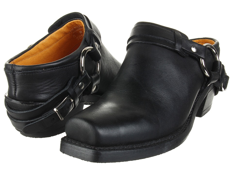 Frye Belted Harness Mule (Black Greasy Leather)