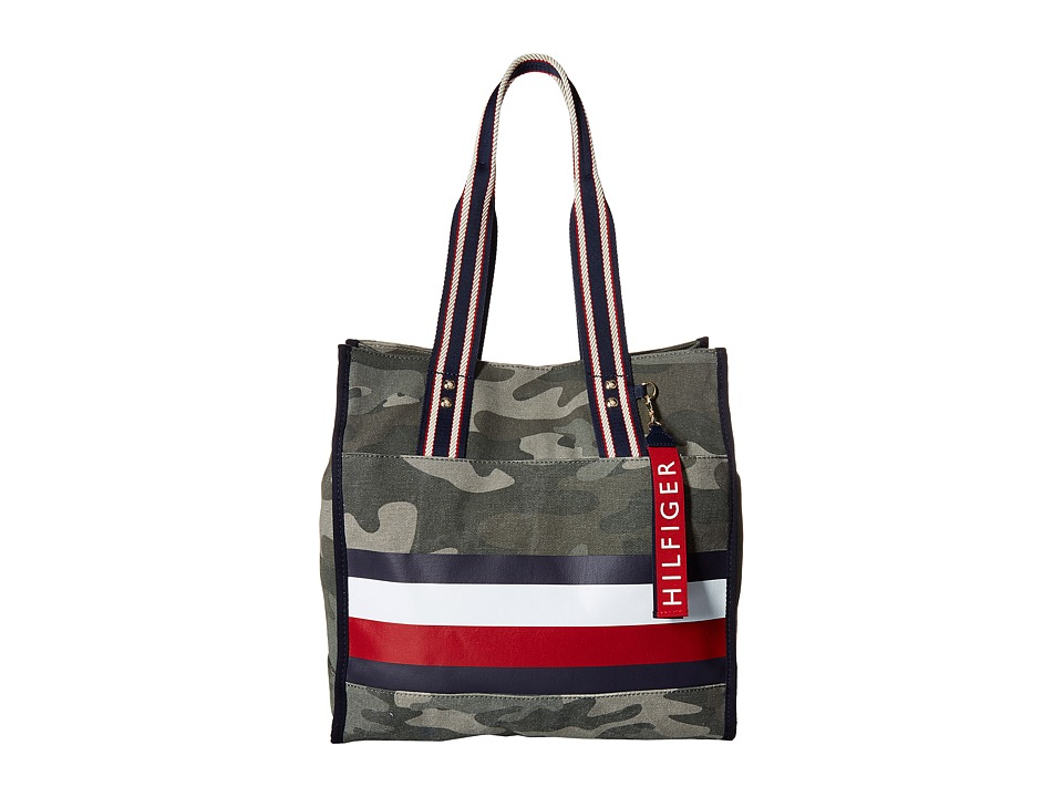 Tommy Hilfiger - Carmel North/South Camo Canvas Stripe Tote (Green) Tote Handbags