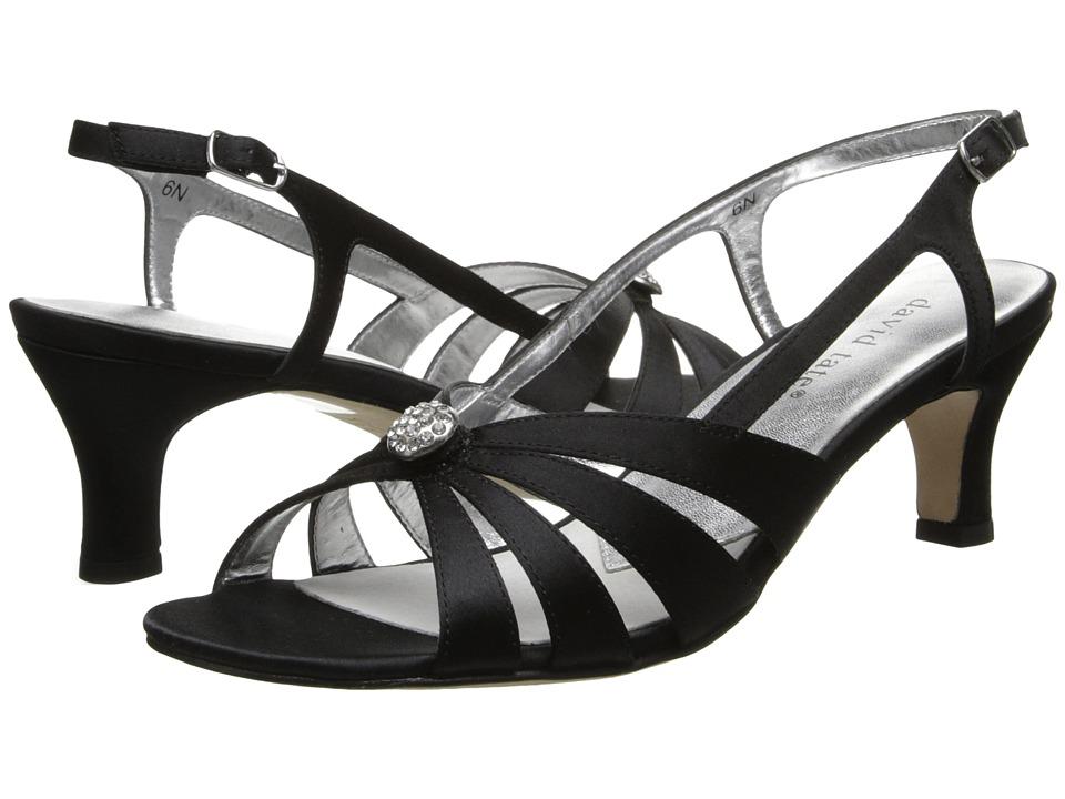 Vintage Evening Dresses and Formal Evening Gowns David Tate - Rosette Black Satin Womens 1-2 inch heel Shoes $79.99 AT vintagedancer.com