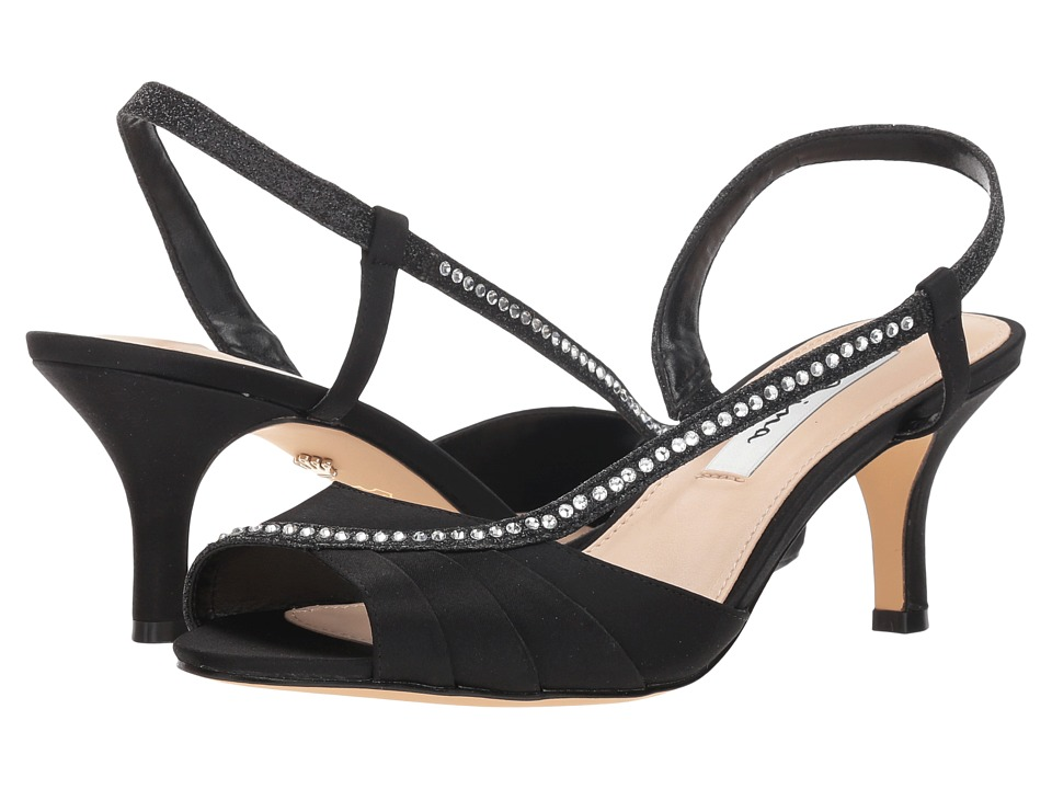 Nina Cabell (Black Satin) 1-2 inch heel Shoes