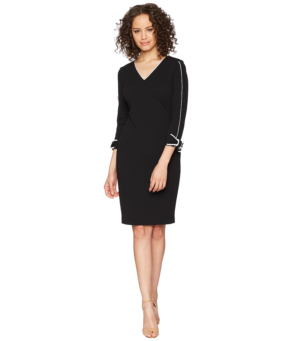 Calvin Klein - Long Sleeve with Tie Cuff and Piping Detail Sheath Dress CD8C14LN (Black/White) Womens Dress