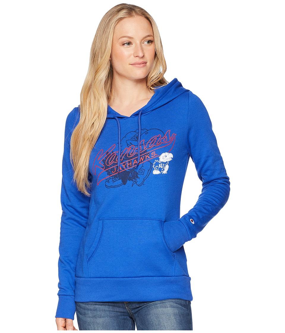 Champion College - Kansas Jayhawks Eco University Fleece Hoodie (Royal) Womens Sweatshirt