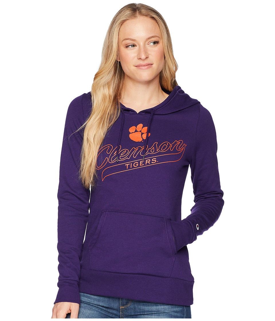 Champion College - Clemson Tigers Eco University Fleece Hoodie (Collegiate Purple) Womens Sweatshirt