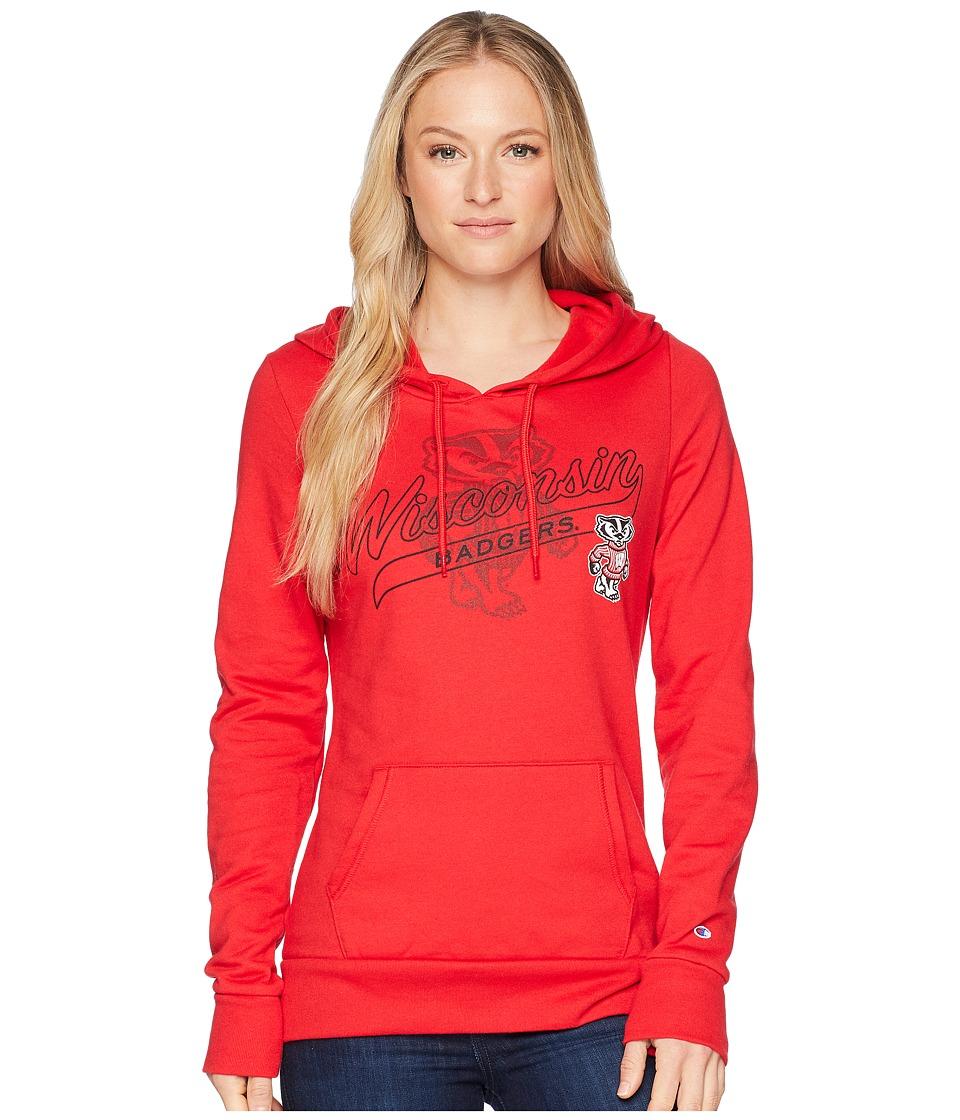 Champion College - Wisconsin Badgers Eco University Fleece Hoodie (Scarlet) Womens Sweatshirt